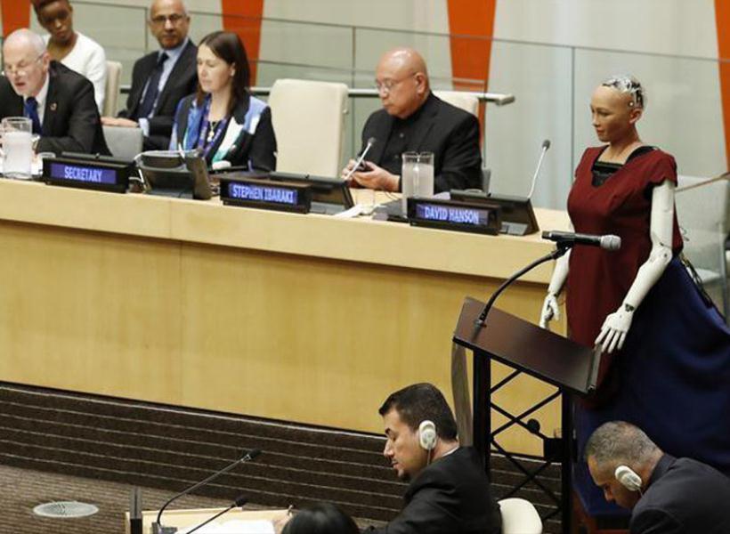 Robot Wanita Berbicara di Rapat PBB