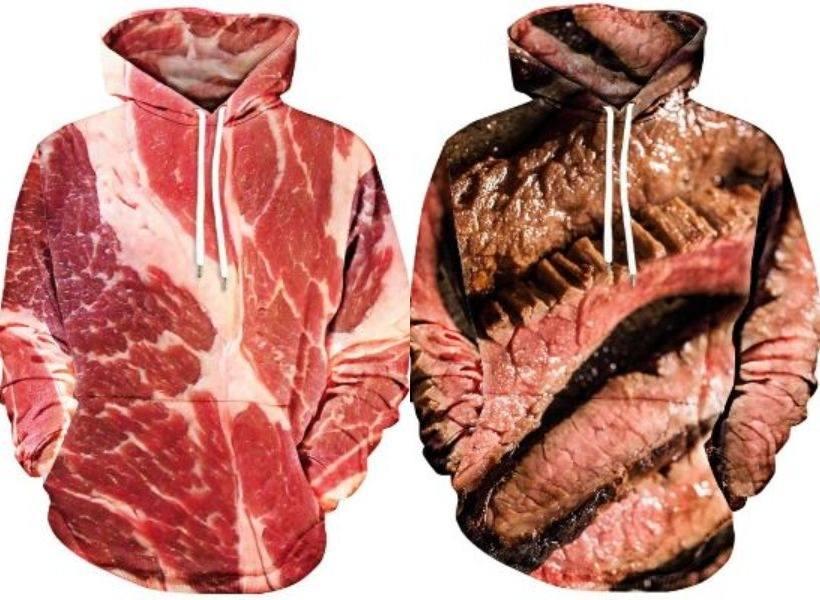 Hoodie Bermotif Daging Steak