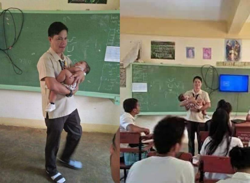 Gendong Bayi Muridnya Saat Ujian, Guru Ini Viral