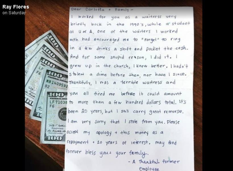 Mantan Pelayan Kembalikan Uang yang Dicurinya 20 Tahun Lalu
