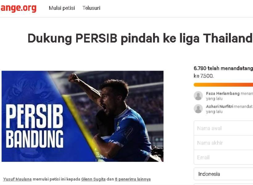 Petisi Online Usulkan Persib Pindah ke Liga Thailand