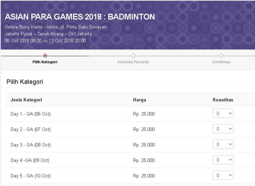 Harga Tiket Asian Para Games 2018