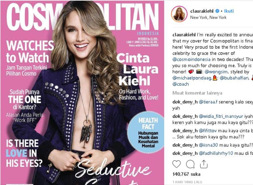 Cinta Laura Tampil Seksi di Sampul Majalah Cosmopolitan