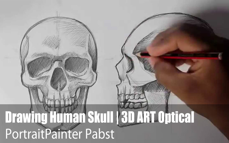 Drawing Human Skull | 3D ART Optical Illusion