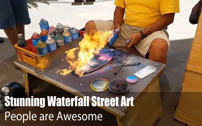 Stunning Waterfall Street Art by Spray Paint Artist