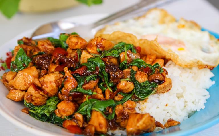 Bangkok Street Food - PAD KRA PAO Basil Chicken Rice (Omelette Thailand)